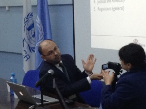 Arsen being interviewed by Radio Liberty about NGO legislation in Armenia at the  The Office of the United Nations High Commissioner for Refugees (UNHCR), March 25, 2015