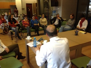 Arsen speaking to his fellow NGO professionals at the Eurasia Partnership Foundation March 25, 2015