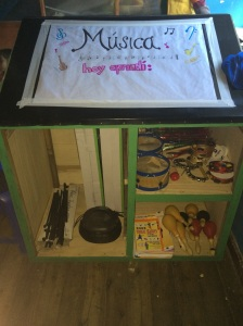 One of the shelves painted for supplies at Abrepuertas (taken by Sarah Glose)
