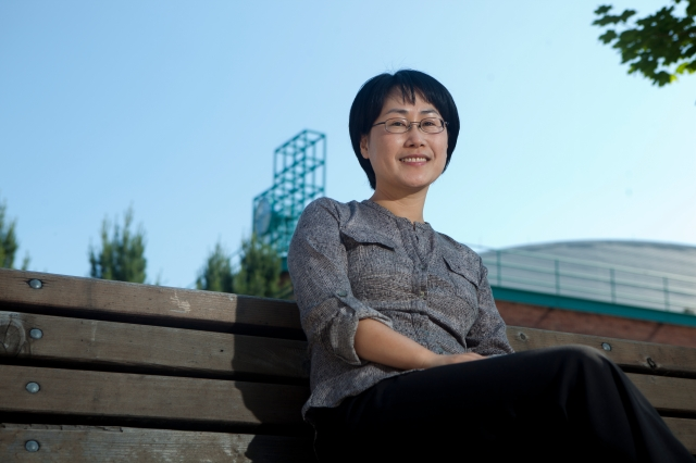 Youjung Lee, assistant professor of social work at the College for Community and Public Affairs, photographed near the University Union, Friday, June 15, 2012.